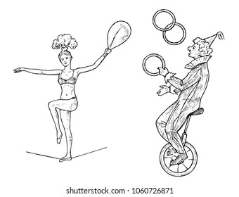 The clown on the wheel juggles with skittles or balls on white background. Street actor or artist in circus. Performer acrobat. Engraved Hand drawn sketch in vintage victorian style.