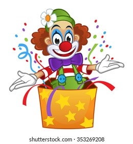 Clown pops out of box with confetti