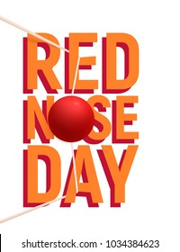The clown red nose on stretched rubber bands. Red Nose Day banner, emblem, card, sign. Vector illustration.