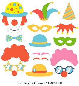 Clown set. Party funnyman birthday photo booth props. Hat, wig, nose, funny glasses, cap, mask, bow tie. Vector illustration