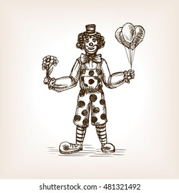 Clown sketch style vector illustration. Old hand drawn engraving imitation.