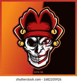 Clown Skull esport and sport mascot logo design with modern illustration concept for team, badge, emblem and thirst printing. Skull Clown illustration on dark Red Background. Vector illustration
