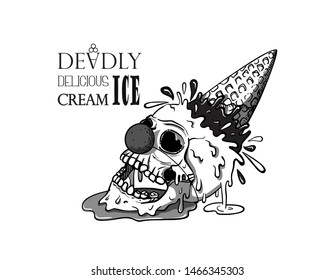 Clown skull ice cream fell on the ground, waffle cone sticking up and splashes fly away, the ice cream melts and flows.  Creepy cartoon illustration for prints, t-shirts, Halloween or tattoo.
