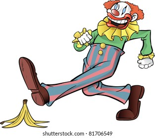 Clown stepping on banana peel