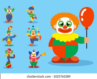 Clown vector circus man characters performer carnival actor makeup clownery juggling clownish human cartoon illustrations
