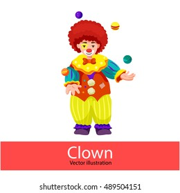 Clown. Vector illustration of a happy circus clown. Clown juggling balls. Isolated on white background