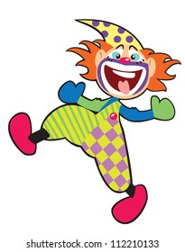clown vector image isolated on white background, picture for babies and little kids,children illustration