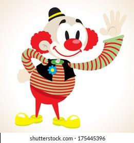 clown waving cartoon illustration