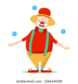 Clown, clown in a wig and hat juggles with blue balls. Cartoon illustration of a clown.