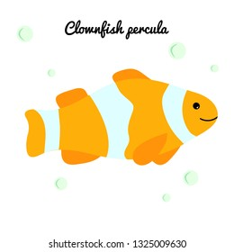 Clownfish Cartoon tropical fish with water bubbles. character smiling happily of sea animal Print for clothes, baby shower decoration. Marine stickers isolated on white background