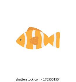 Clownfish cute vector illustration. Hand drawn ocean, marine, sea orange and white striped fish animal. Isolated.