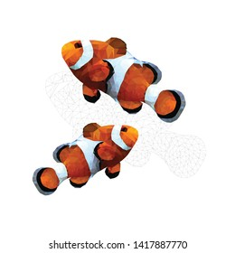 clownfish. fish vector.  isolated on white background-polygonal art vector eps 10