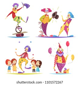 Clowns design concept with performer on unicycle, tricks with hares, juggler, show with balloons isolated vector illustration