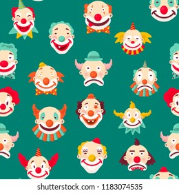 Clowns entertaining people emotions of man pattern vector
