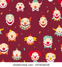 Clowns faces circus artists seamless pattern jokers with makeup vector red nose and wig amusement and entertainment, show performers endless texture harlequins or funsters wallpaper print funnymen
