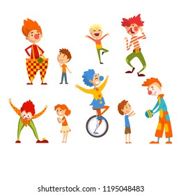 Clowns and happy little kids set, children having fun at birthday, carnival party or circus performance vector Illustration on a white background