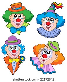 Clowns head collection - vector illustration.