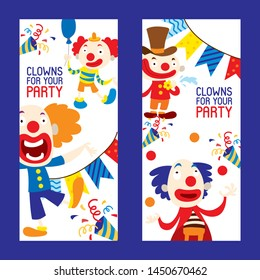 Clowns for your party set of banners vector illustration. Funny characters and different circus accessories. Cartoon clown, comedian and jester performance in costume. Laughing faces.