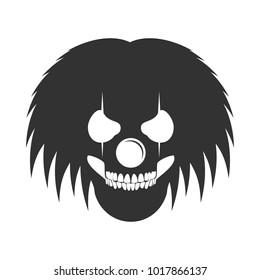 Clowny Messy Haired Skull Head Logo Symbol Vector Graphic Design