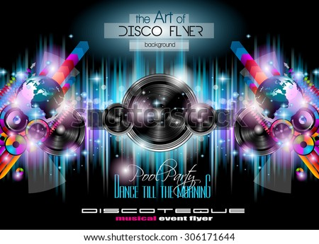 club disco flyer set music themed stock vector royalty free