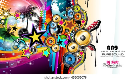 Club Disco Flyer template with Music Elements and Colorful Scalable backgrounds. Music event Posters and banners.