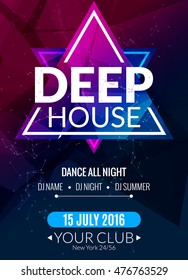 Club electronic deep techno music poster. Musical event DJ flyer. Disco trance sound. Night party.