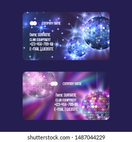 Club equipment for disco show shop or store set of business cards vector illustration. Life begins at night. Night city entertainment and event. Shining discoball. Contact information.