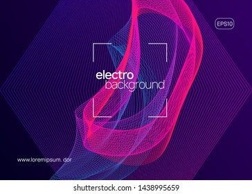 Club flyer. Bright concert cover design. Dynamic fluid shape and line. Neon club flyer. Electro dance music. Trance party dj. Electronic sound fest. Techno event poster.
