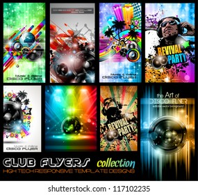 Club Flyers ultimate collection - High quality abstract full editable template designs for music posters or disco flyers.