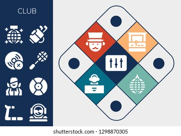 club icon set. 13 filled club icons. Simple modern icons about  - DJ, Treadmill, Croupier, Vynil, Racket, Mirror ball, Golf, Arcade machine, Gentleman
