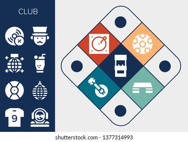 club icon set. 13 filled club icons.  Collection Of - Arcade machine, Soccer jersey, DJ, Mirror ball, Mojito, Vynil, Gentleman, Soccer, Turntable, Banjo, Fitness step
