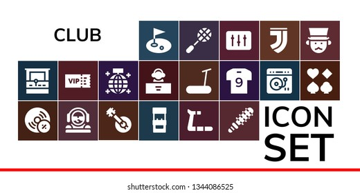 club icon set. 19 filled club icons.  Collection Of - Golf, Arcade machine, Vynil, DJ, Banjo, Treadmill, Mace, Vip, Mirror ball, Soccer jersey, Turntable, Poker, Racket, Juventus