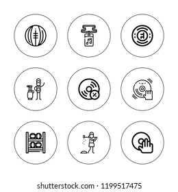 Club icon set. collection of 9 outline club icons with caddy, chelsea, dj, golfer, medicine ball, medicine balls, vynil icons. editable icons.