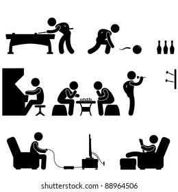 Club Indoor Activity Snooker Pool Bowling Chess Video Game Icon Symbol Sign Pictogram