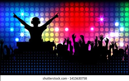 club life dj on the dance floor vector illustration