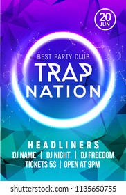 Club music poster banner design. Trap nation flyer creative event card for night party invitation.