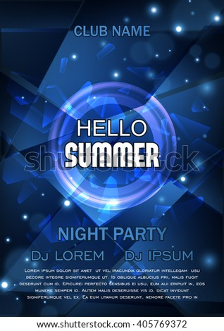 club party flyer hello summer party stock vector royalty free