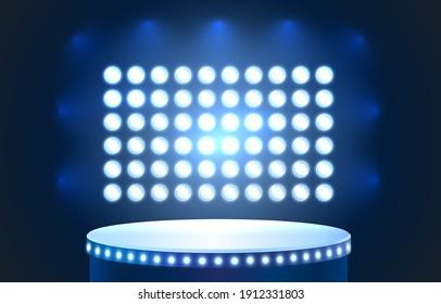Club podium platform award, stage illumination background. Vector illustration