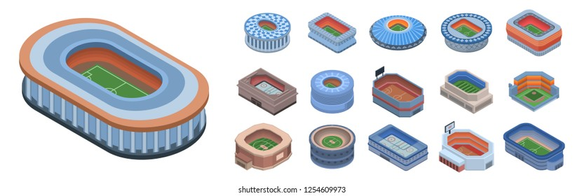 Club stadium icons set. Isometric set of Club stadium icons vector for web design isolated on white background