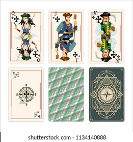 Clubs deck playing card. Pirates style character. Black rank illustration game card