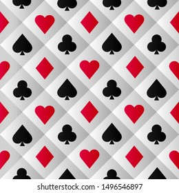 Clubs, hearts,spades and diamonds illustration. Poker cards pattern.
