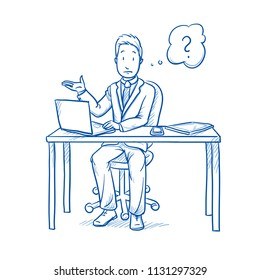 Clueless business man, employee at his desk with laptop, tablet and smart phone, with question mark in thought bubble.  Hand drawn line art cartoon vector illustration