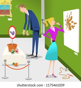 Clueless businessman and businesswoman visiting a modern art exhibition with paintings and sculptures (vector illustration)
