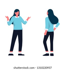 Clueless young business woman in formal clothes spreading her arms . Cartoon vector illustration. Confused young woman shrugging her shoulders