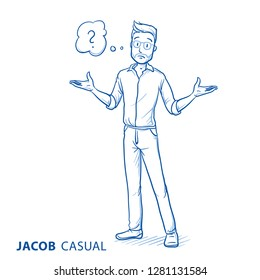 Clueless young man in casual clothes spreading his arms with thought bubble. Hand drawn blue line art cartoon vector illustration.