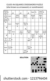 Clues-in-squares crossword puzzle, or arrow word puzzle, else arrowword, scandinavian, or scanword, skanword. General knowledge, non-themed, family friendly. Solution included.