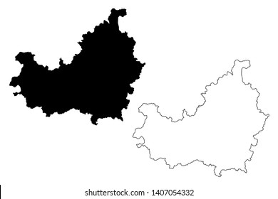 Cluj County (Administrative divisions of Romania, Nord-Vest development region) map vector illustration, scribble sketch Cluj map