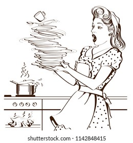 Clumsy housewife with retro clothes drops dishes and overlooked roast chicken in an oven.Vector graphic illustration