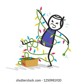 Clumsy stick man in blue shirt tangled up in colorful party lights isolated on white background