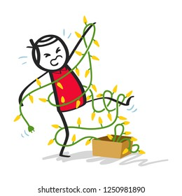Clumsy stick man in red shirt tangled up in Christmas lights isolated on white background